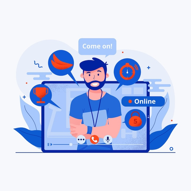 Virtual gym concept illustrated Free Vector