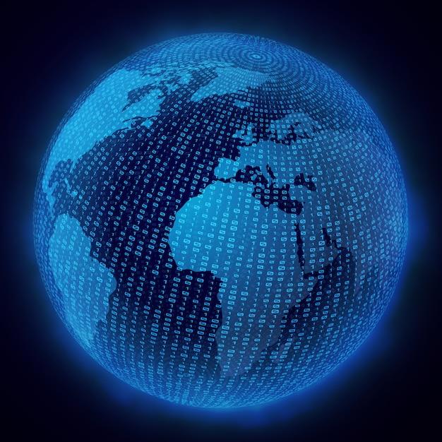 Virtual hologram  of the planet earth Premium Vector