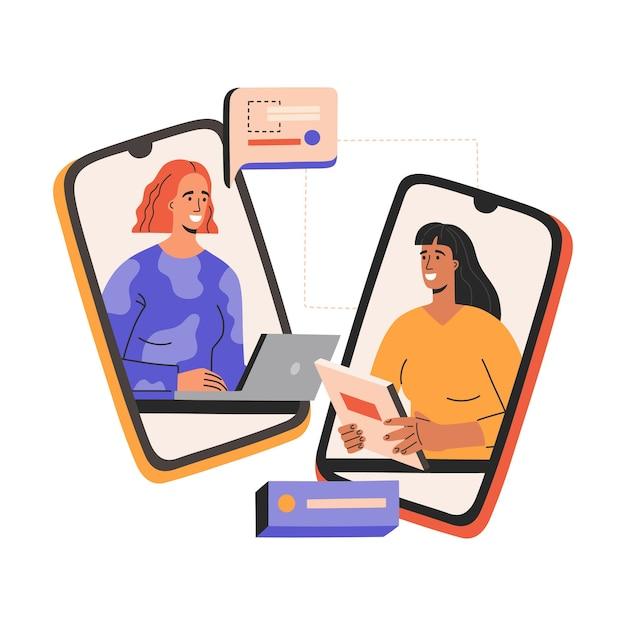 가상 면접, 두 웃는 여자가 스마트 폰으로 회의 비즈니스 회의가 있습니다. 프리미엄 벡터