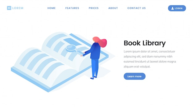 Virtual library landing page isometric template Premium Vector