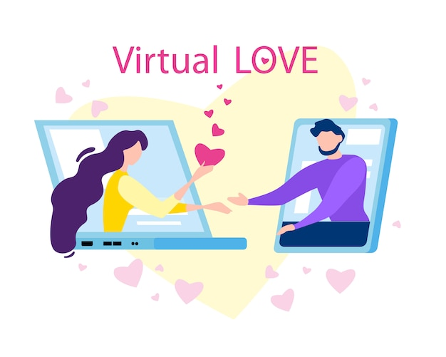 Virtual love cartoon man woman on computer screen Premium Vector