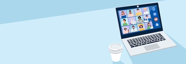 仮想会議のコンセプト、自宅で同僚とビデオ会議をしている人。 Premiumベクター