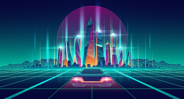 Virtual metropolis in digital simulation Free Vector