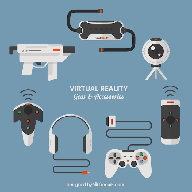 Virtual reality accessories Free Vector
