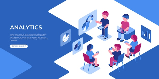Virtual reality analytics technology icons with people Premium Vector