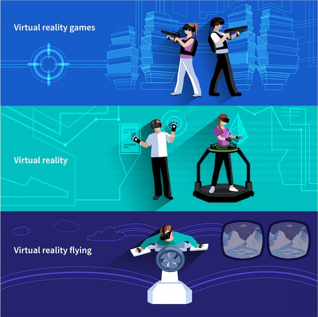Virtual reality artificial world 3 flat horizontal banners set with military games and flying abstra Free Vector