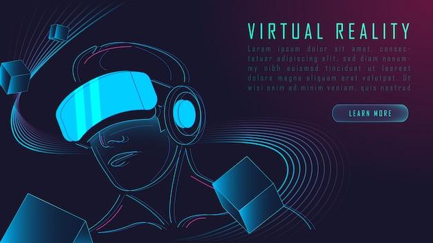 Virtual reality background Premium Vector
