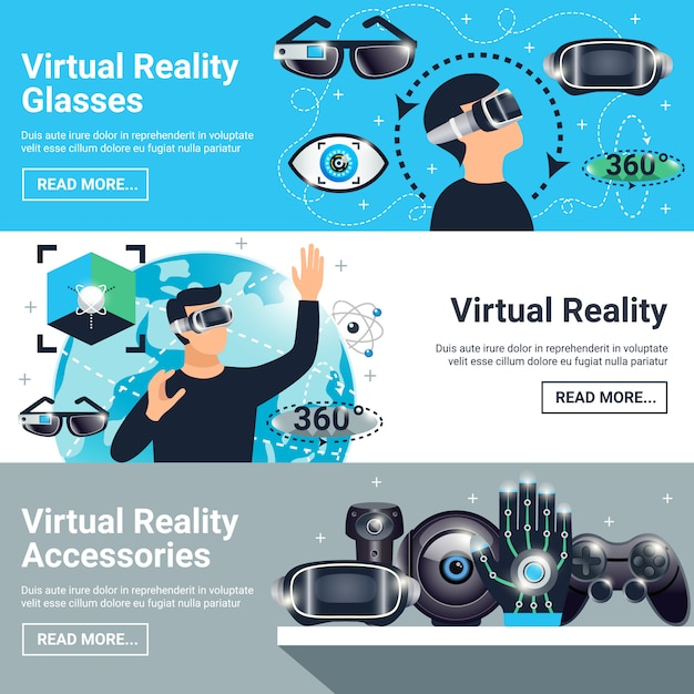 Virtual reality banner set Free Vector