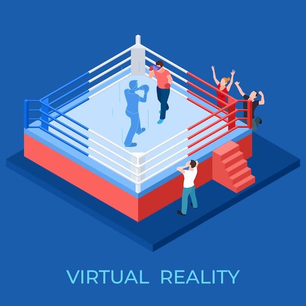 Виртуальная реальность боксерский матч на изометрической площадке векторная иллюстрация Premium векторы