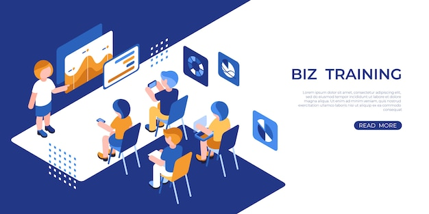 Virtual reality business training icons with people Premium Vector