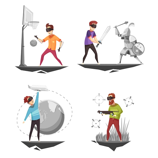 Virtual reality concept 4 icons Free Vector
