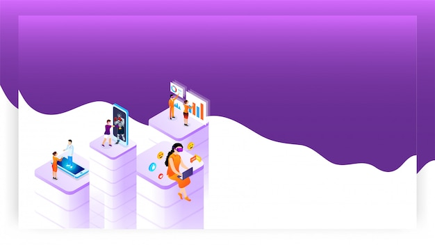 Virtual reality concept based design with people using different social service app. Premium Vector