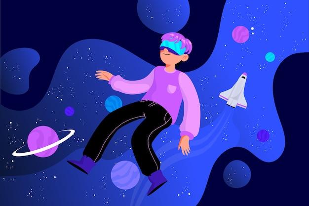 Иллюстрация концепции виртуальной реальности Бесплатные векторы
