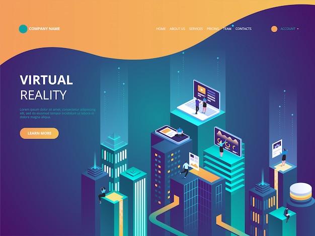 Virtual reality concept isometric illustration Premium Vector