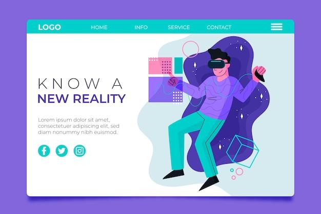 Целевая страница концепции виртуальной реальности с человеком Бесплатные векторы