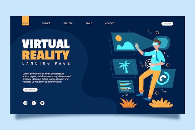 Целевая страница концепции виртуальной реальности Premium векторы