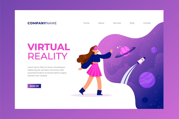 Virtual reality concept - landing page Free Vector