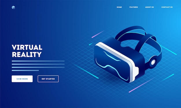 Virtual reality concept with illustration of 3d vr glasses. can be used as website landing page design. Premium Vector