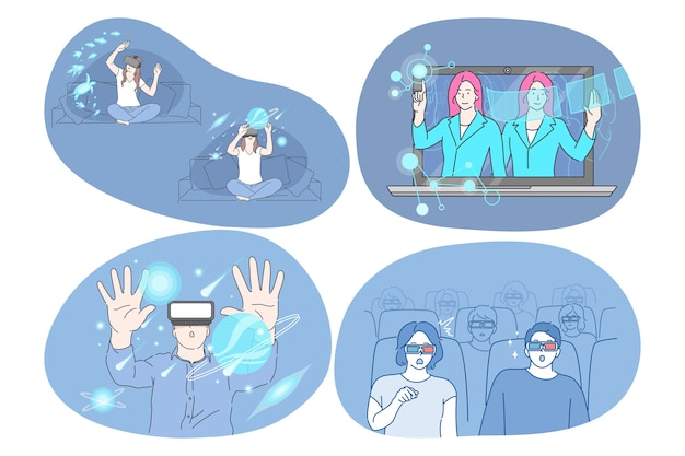 Virtual reality and cyberspace through glasses concept. Premium Vector