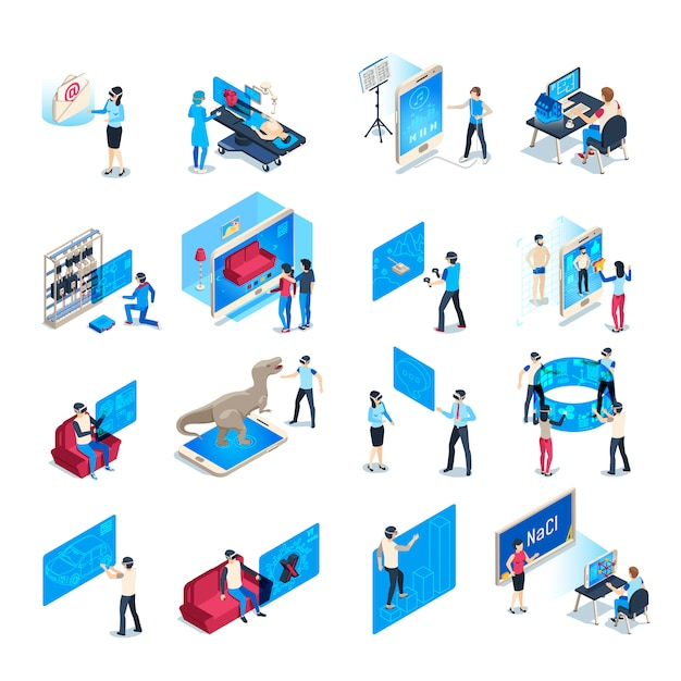 Virtual reality device. isometric immersion training experience in vr equipment. immersed human  illustration collection Premium Vector