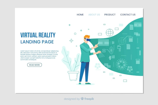 Virtual reality digital landing page Free Vector