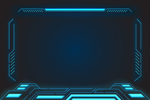 Virtual reality display abstract technology future interface hud for e- sports and technology business. Premium Vector