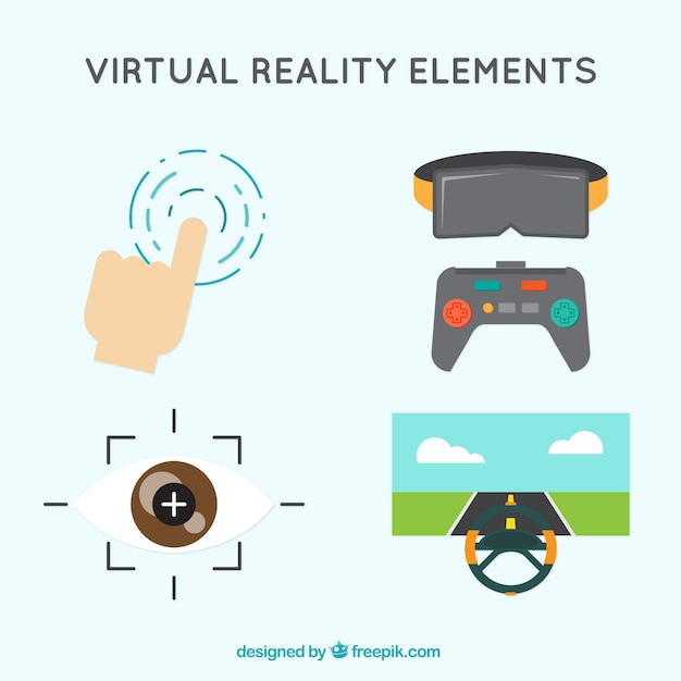 Virtual Reality Elements In Flat Design Vector Free Download