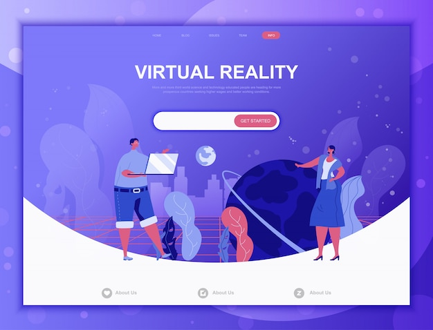 Virtual reality flat concept, landing page web template Premium Vector