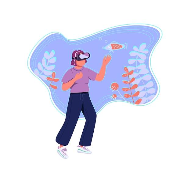 Плоская концепция виртуальной реальности. молодая женщина, девочка-подросток в гарнитуре vr 2d мультипликационный персонаж для веб-дизайна. моделирование исследования морской жизни, креативная идея иммерсивного опыта Premium векторы