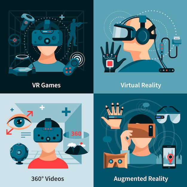 Virtual reality flat concept Free Vector