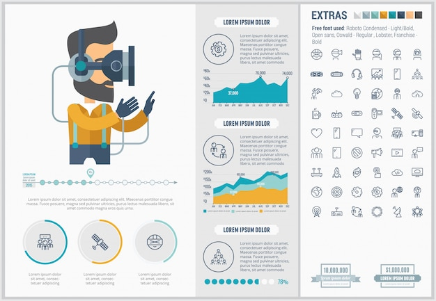 Virtual reality flat design infographic template and icons set Premium Vector