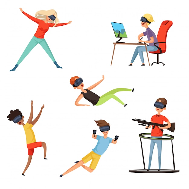 Virtual reality gamer, funny and happy characters playing online games vr helmet virtual headset or glasses, s Premium Vector