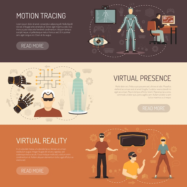 Virtual reality games banners Free Vector