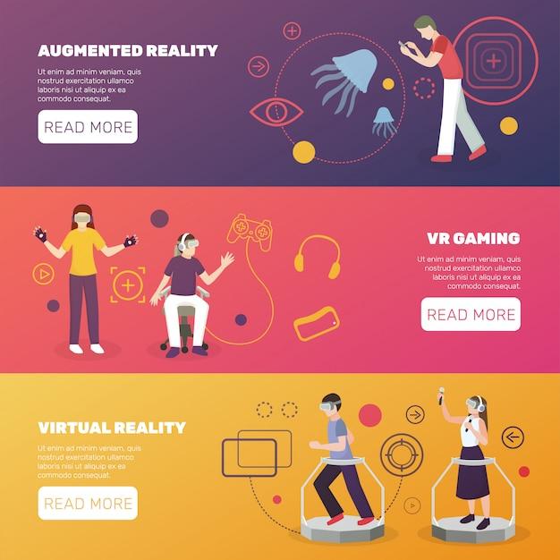 Virtual reality gaming banners Premium Vector