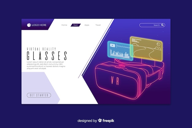 Virtual reality glasses landing page Free Vector