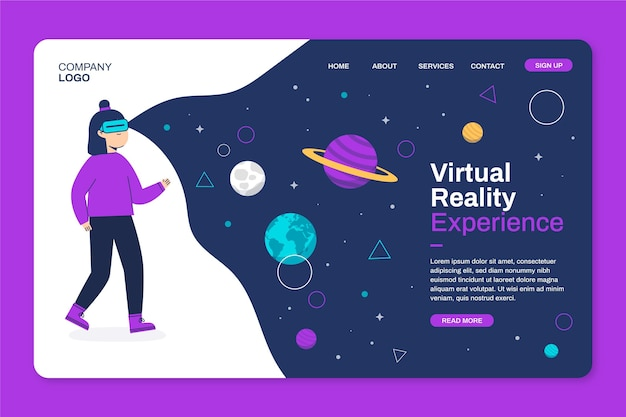 Домашняя страница виртуальной реальности Premium векторы