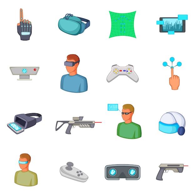 Virtual reality icons set Premium Vector