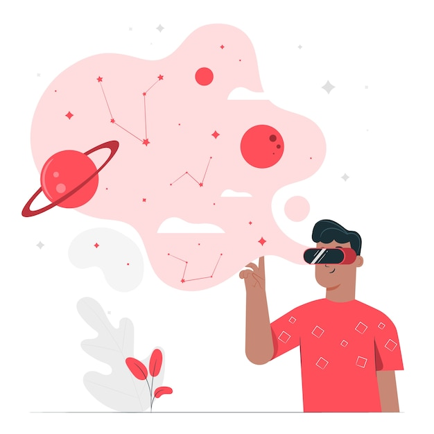 Концепция иллюстрации виртуальной реальности Бесплатные векторы