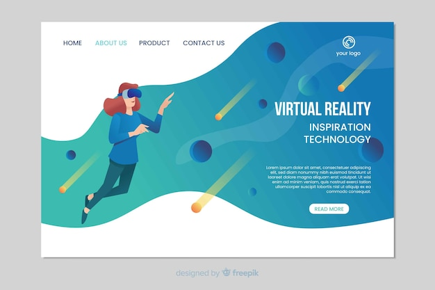 Virtual reality inspiration landing page Free Vector