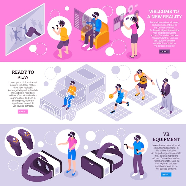Virtual reality isometric banners Free Vector