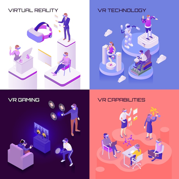 Virtual reality isometric design concept Free Vector