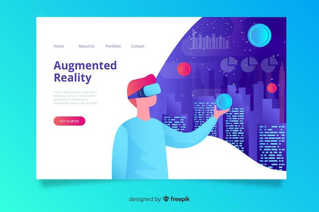 Virtual reality landin page template Free Vector