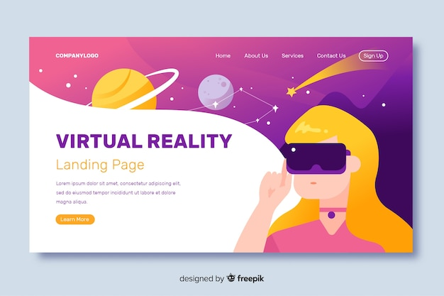 Virtual reality landing page flat design Free Vector