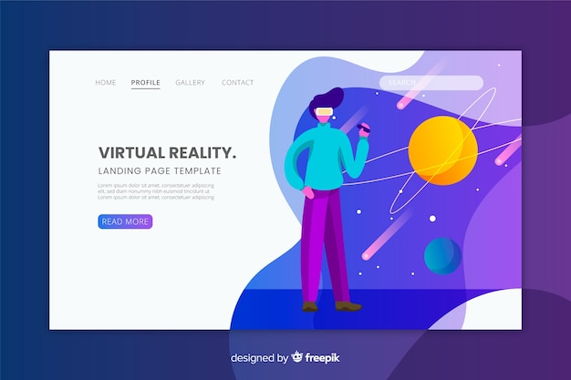 Virtual reality landing page flat design Free Vector