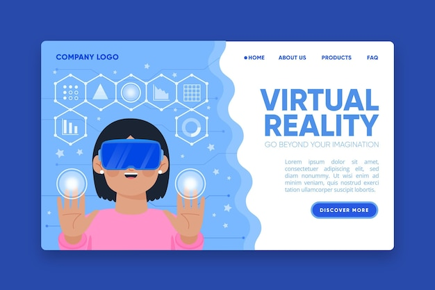 Virtual reality landing page headset concept Free Vector