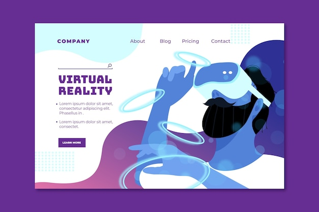 Virtual reality landing page template Premium Vector
