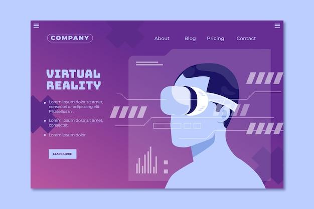 Virtual reality landing page template Premium Vector