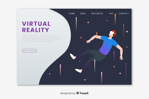 Virtual reality landing page template Free Vector