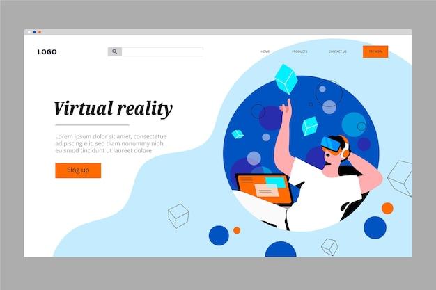 Целевая страница виртуальной реальности Бесплатные векторы