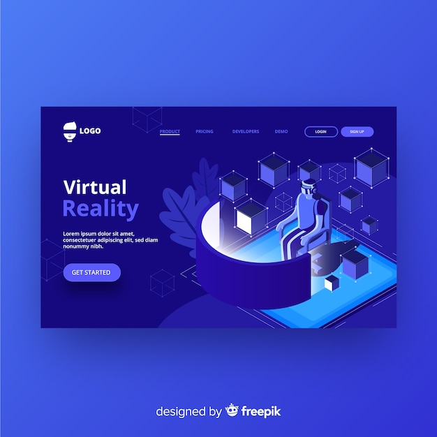 Virtual reality landing page Free Vector
